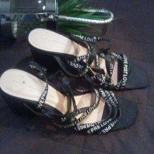 Zara letter mule heels